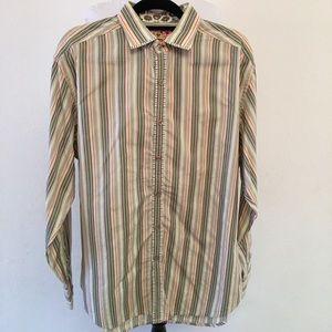 Robert Graham Mens Button Down Shirt Striped XL